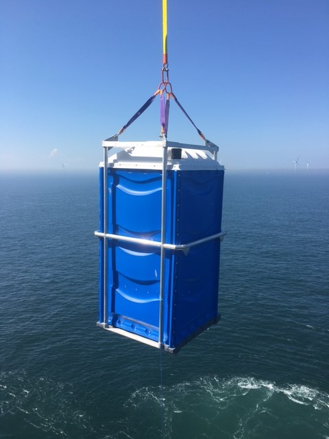 The hot water hand wash stations is one of the six uses of PWS' modular offshore welfare and hygeine units, made from a leightweight marine-grade aluminium frame. Picture: Pegasus Welfare Solutions