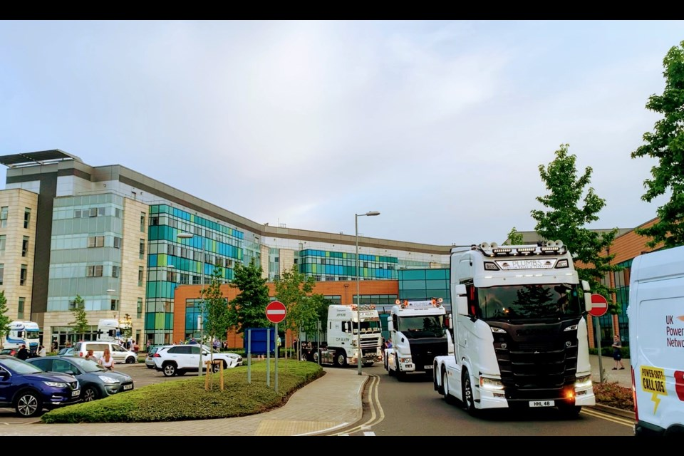 This picture was taken at the Convoy (and Clap) for Carers last night at Peterborough City Hospital